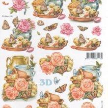 Feuilles à découper 3D  roses et papillons
