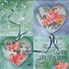 Serviette papier roses et love 33 cm X 33 cm 3 plis