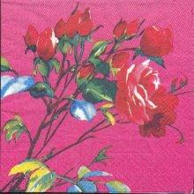 Serviette papier motif fleurs rose 33 cm X 33 cm 3 plis