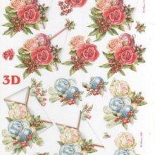 Feuilles à découper 3D roses et boules