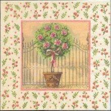 Serviette papier motif rosier 33 cm X 33 cm 3 plis