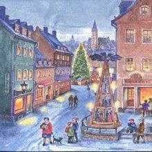 Serviette papier rue de Noël 33 cm X 33 cm 3 plis