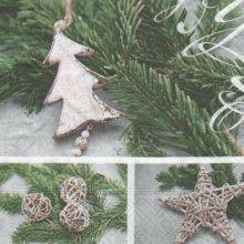 Serviette papier sapin de Noël et étoile 33 cm X 33 cm