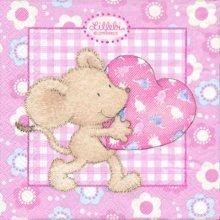 Serviette papier souris et petit coeur  33 cm X 33 cm 3 plis
