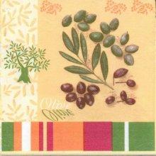 Serviette papier motif Sud et olives 40 cm X 40 cm 3 plis