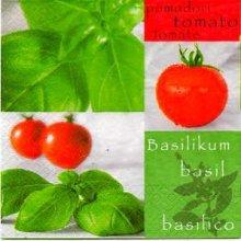 Serviette papier Tomate et basilic de 33 cm X 33 cm 3 plis