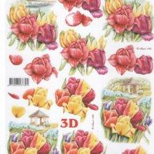 Feuilles 3D à découper tulipe jaune