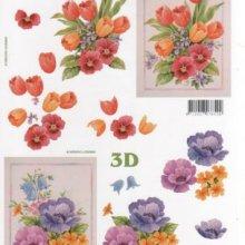 Feuilles à découper 3D tulipes et fleurs