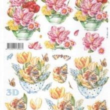 Feuilles à découper 3D tulipes et papillons