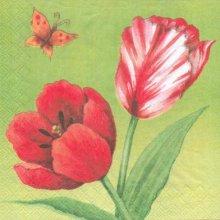 Serviette papier motif fleurs tulipe 33 cm X 33 cm 3 plis