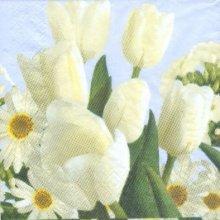 Serviette papier fleurs tulipes blanche 33 cm X 33 cm 3 plis
