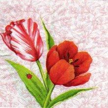 Serviette papier tulipe rouge 33 cm X 33 cm 3 plis
