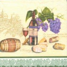 Serviette papier motif vin et fromage 33 cm X 33 cm 3 plis