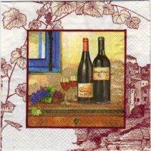 Serviette papier vin rouge et raisin 25 cm x 25 cm 3 plis