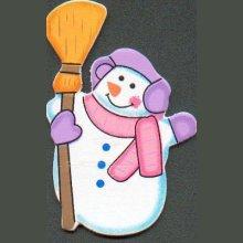 Bonhomme de neige en bois avec balai
