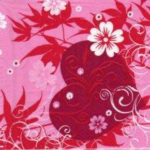 Serviette papier coeur et fleurs 33 cm X 33 cm 3 plis