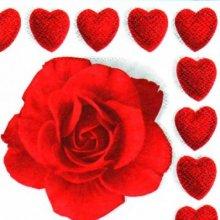 Serviette papier coeur et rose rouge 25 cm X 25 cm 3 plis