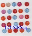 Lot de 25 boutons couleurs clairs et rouge de 13 mm pour la couture