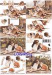 Feuille 3D chat et chien brun