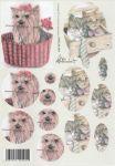 Feuille 3D petit chien brun et panier