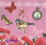 Serviette papier oiseau et papillon - 33 cm x 33 cm
