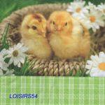 Serviette papier 2 poussins de Pâques - 33 cm x 33 cm