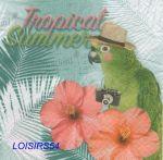 Serviette papier perroquet et fleurs - 33 cm x 33 cm